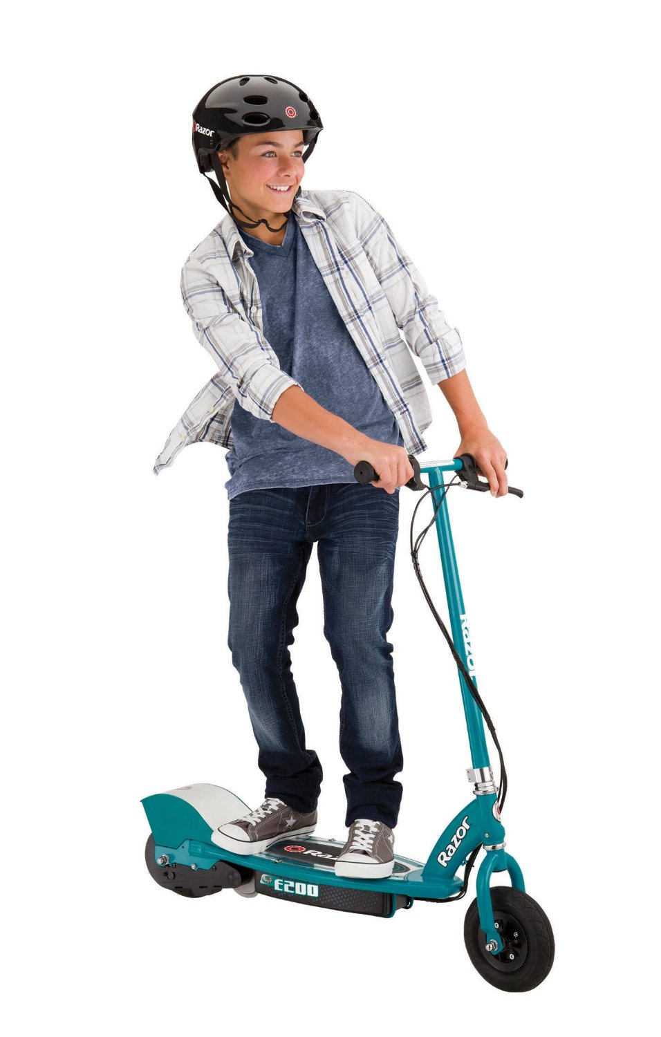 loved the idea of the electric scooter so much I had to upgrade. Before I had the E100 which was a very nice scooter, but when I heard there was a faster option I knew I had to go for it. The E100 has a top speed of 10 miles per hour but the E200 boasts a top speed of 12 miles per hour. This is a pretty significant increase in speed, going from a jogging pace to a full on sprint with just the turn of your wrist.The scooter attains this speed with the help of its high torque, chain driven moto