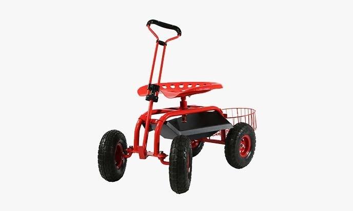 Deluxe Tractor Scoot With Bucket Basket U2013 Garden Scooter U2013 Amazing Garden  Cart With Seat