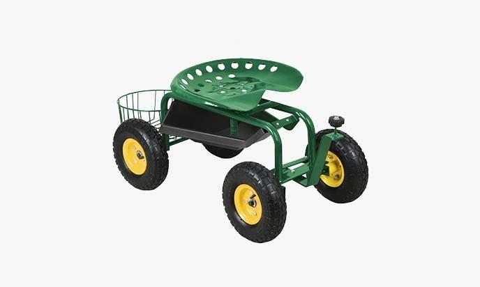 Bon Yaheetech Green Heavy Duty Garden Cart Rolling Work Seat U2013 Great Garden  Scooter Seat